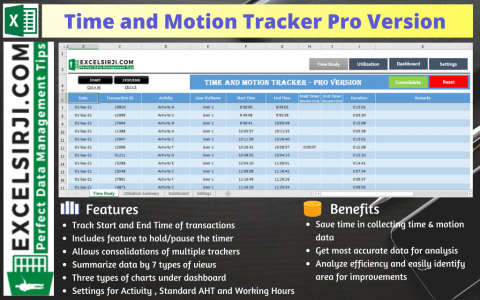 Time and Motion Tracker Pro Version